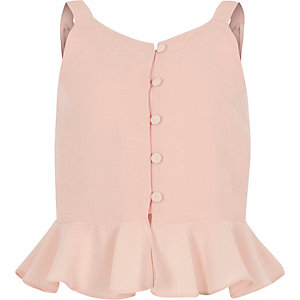 Girls pink peplum cami top