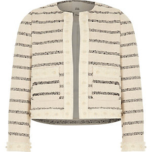 Girls white stripe boucle trophy jacket
