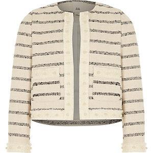 Wit gestreept bouclé jasje voor meisjes