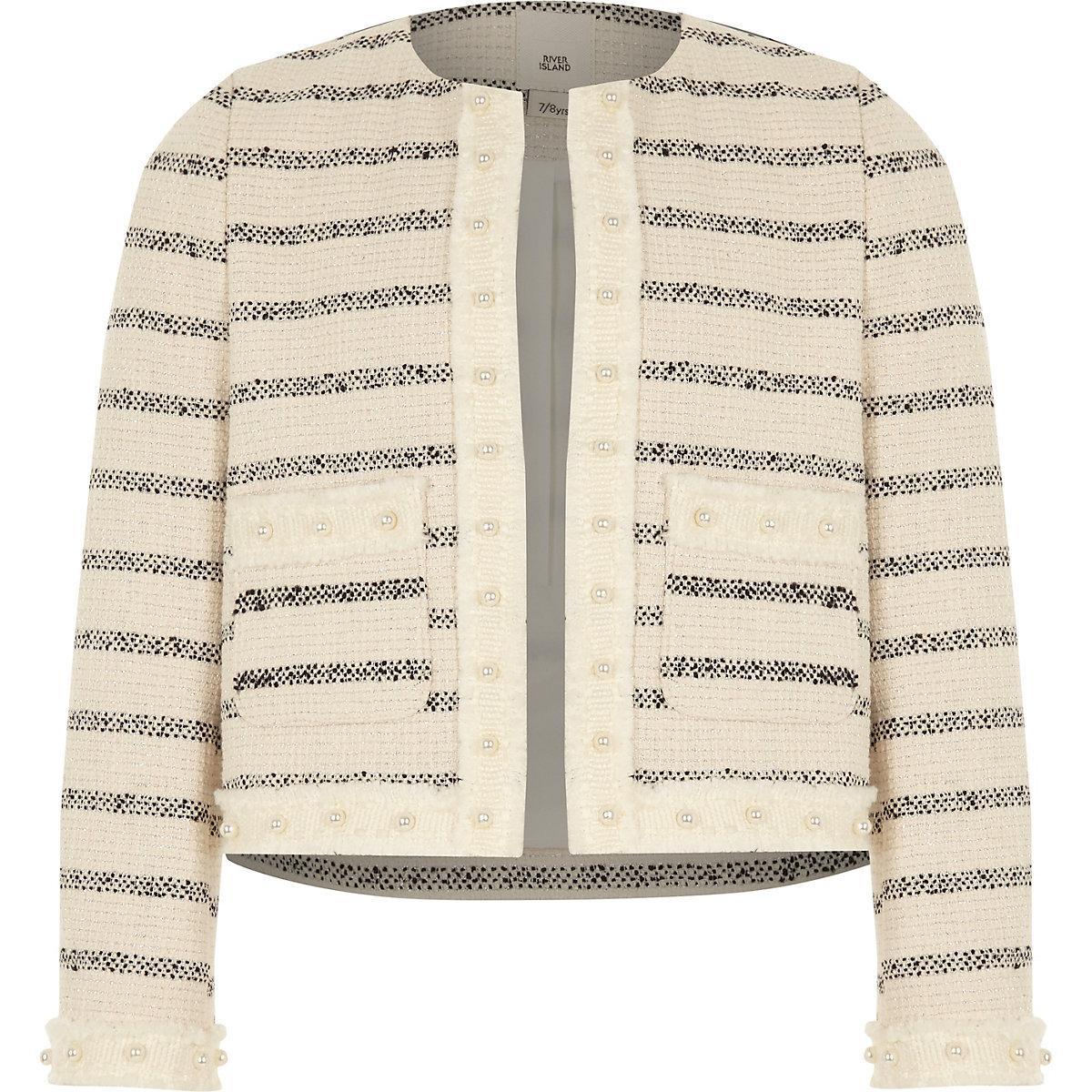Girls white stripe boucle trophy jacket