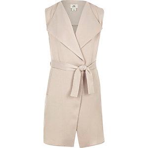 Girls grey sleeveless duster jacket