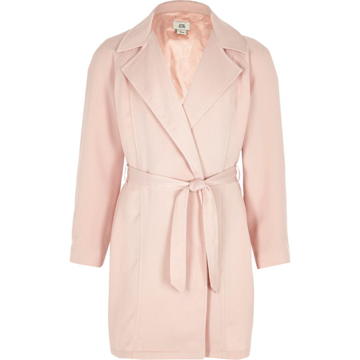 Girls pink long sleeve duster jacket