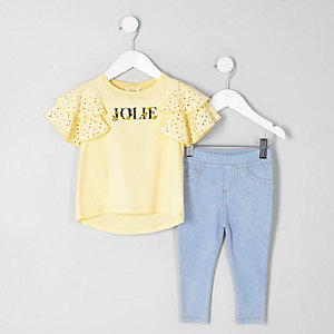 Mini girls yellow frill sleeve T-shirt outfit