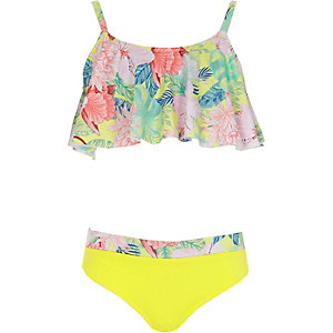 Girls lime tropical print tankini