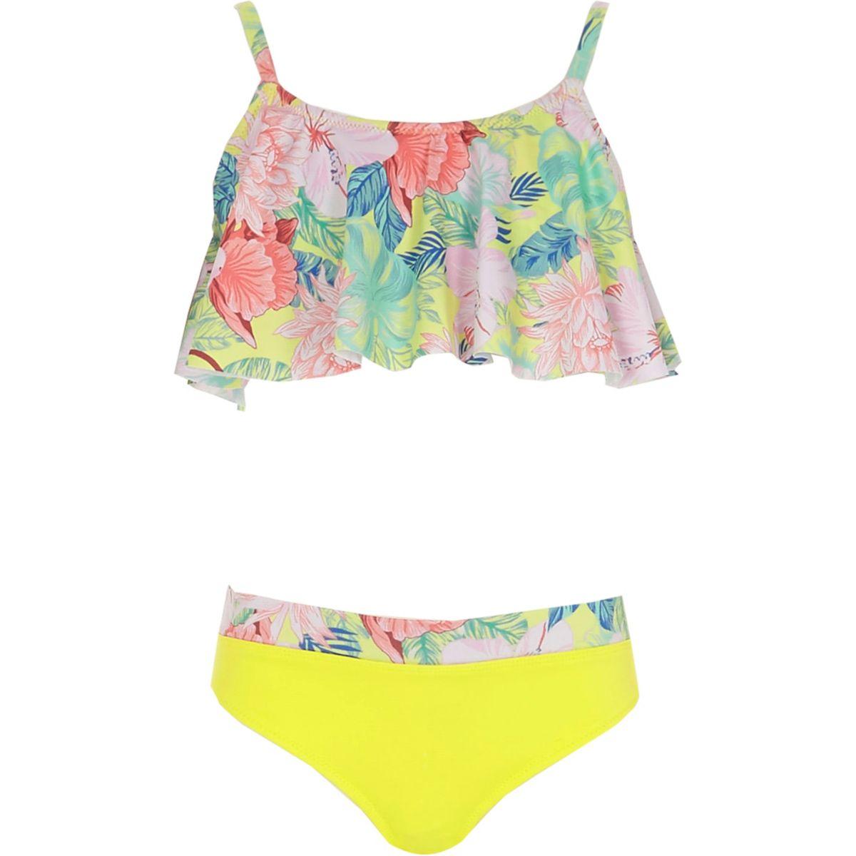 Girls lime tropical print tankini