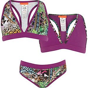 Bikini trois pièces imprimé violet pour fille