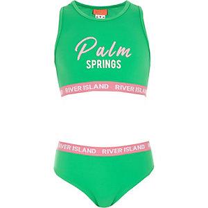 Groene cropped bikini met 'palm springs'-print voor meisjes