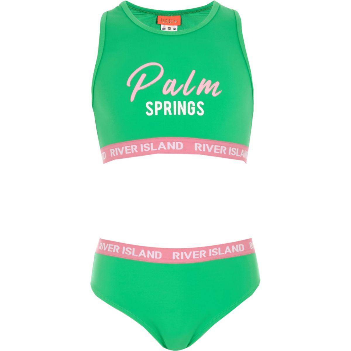 Girls green 'palm springs' crop bikini