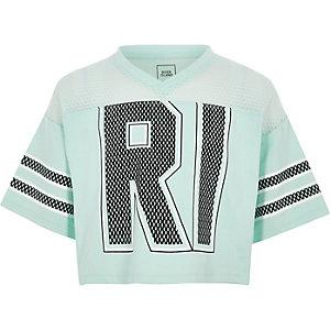 Mintgroen RI varsity T-shirt voor meisjes