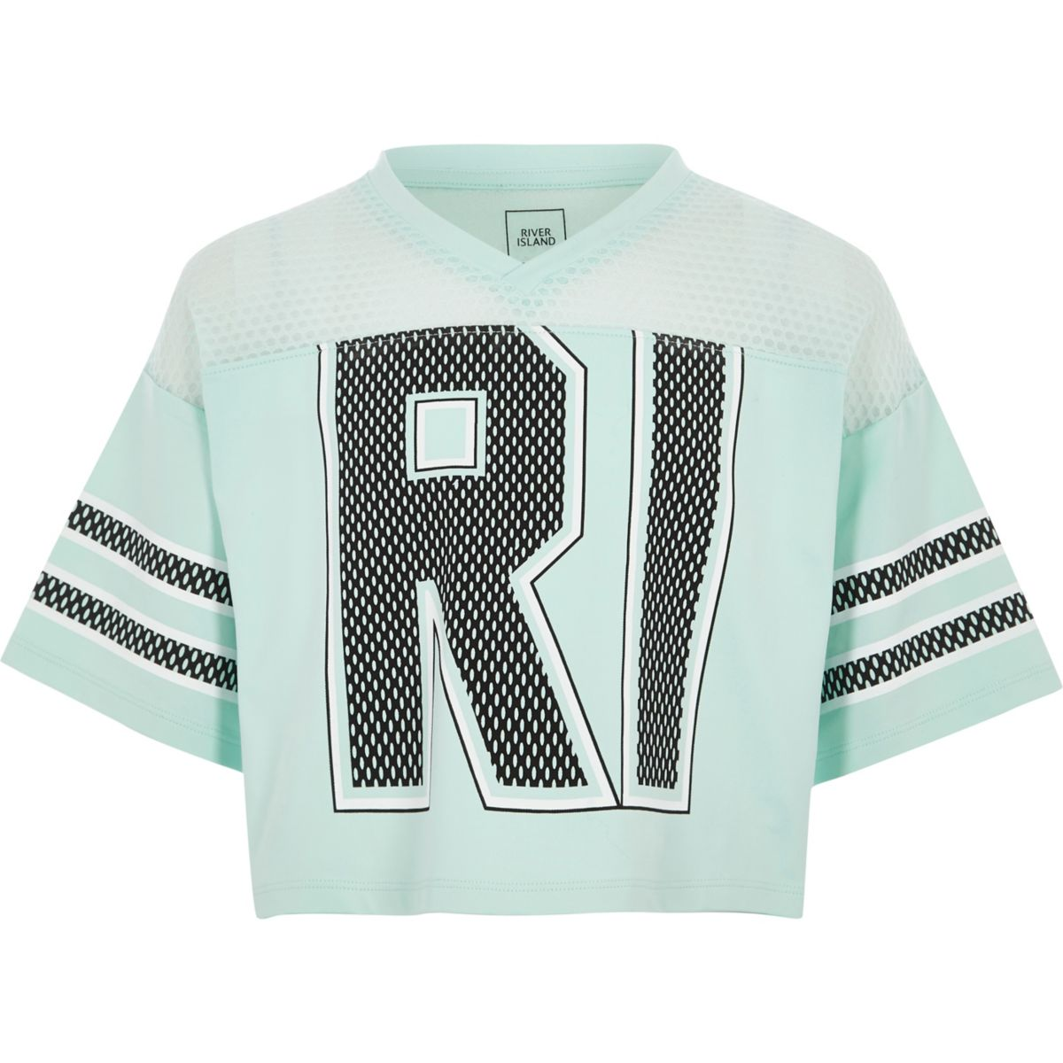 Girls mint Green RI varsity style T-shirt