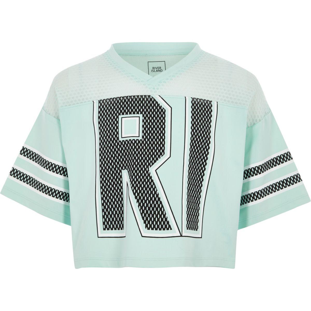 Girls mint Green RI varsity style T-shirt