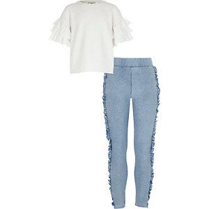 Outfit met witte top met ruches aan de mouwen voor meisjes