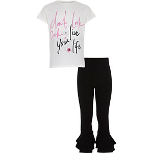 Girls white 'live your life' T-shirt outfit