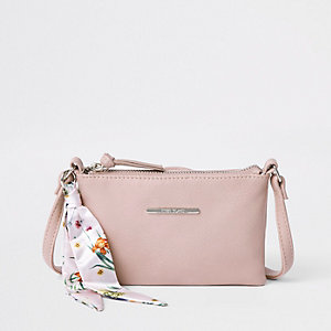 Girls light pink floral scarf cross body bag