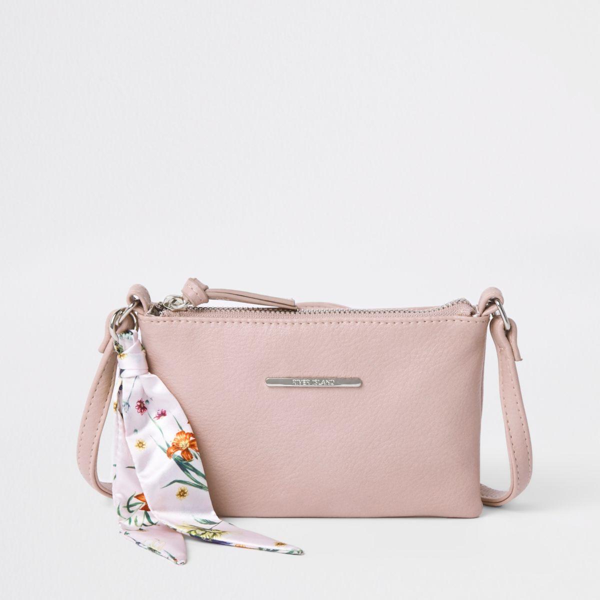 Girls light pink floral scarf cross body bag