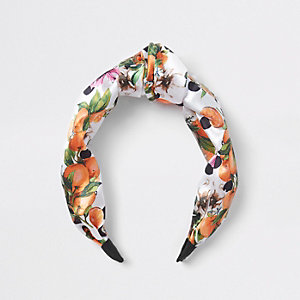 Girls orange fruit knot headband