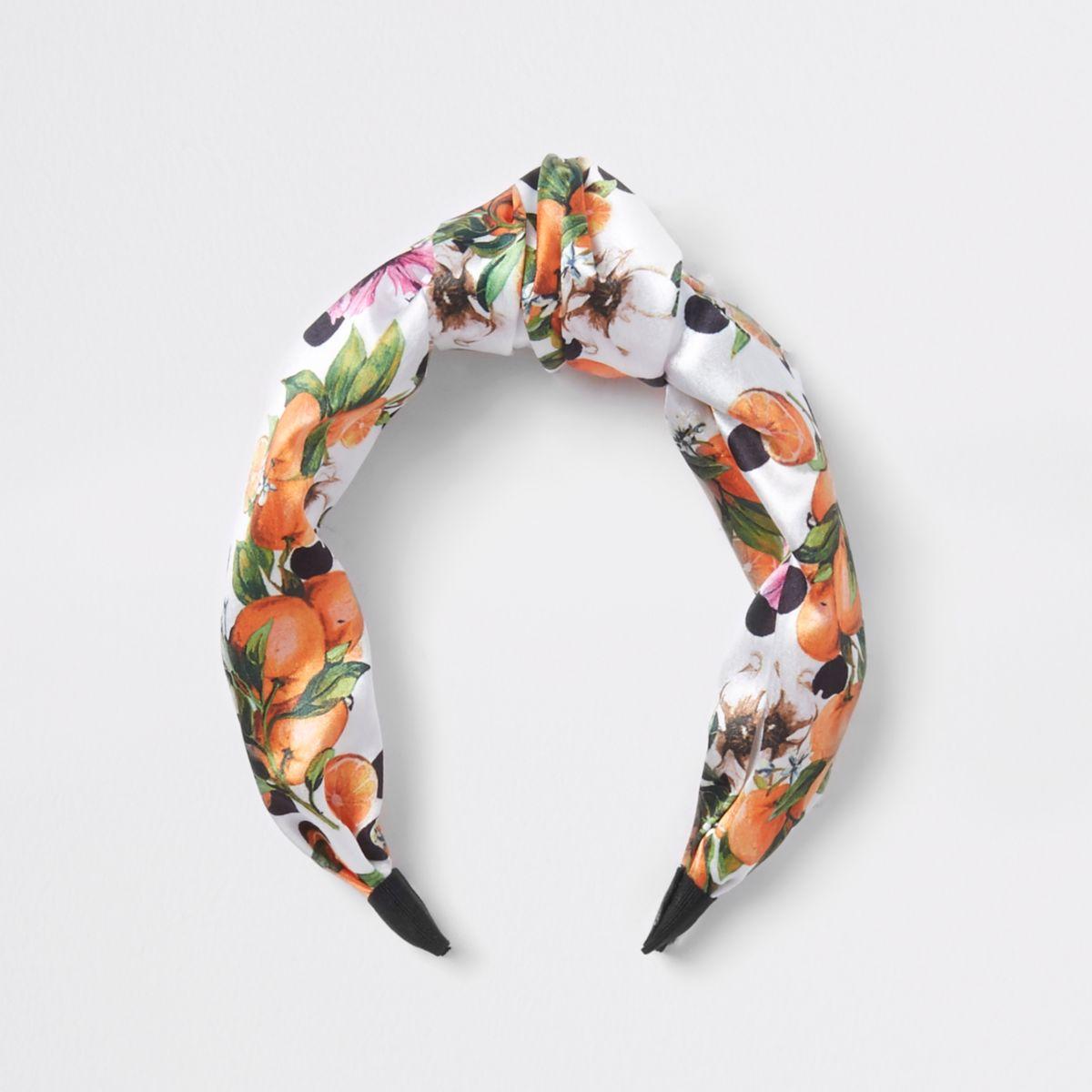 Girls orange fruit knot headband