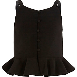 Girls black peplum cami top