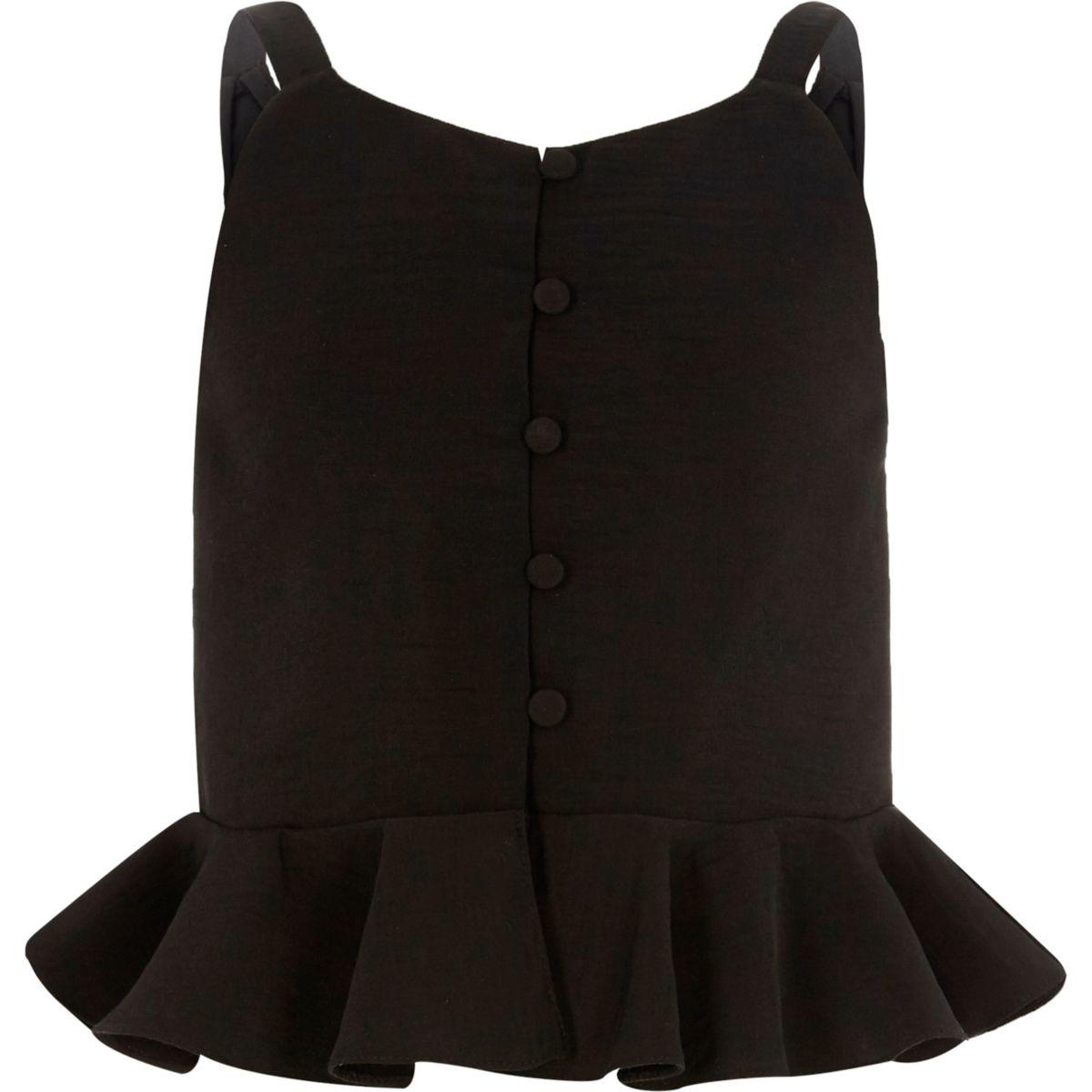 Girls black peplum cami top