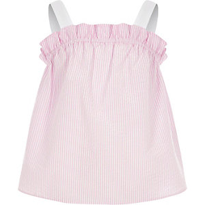 Girls pink stripe frill cami top