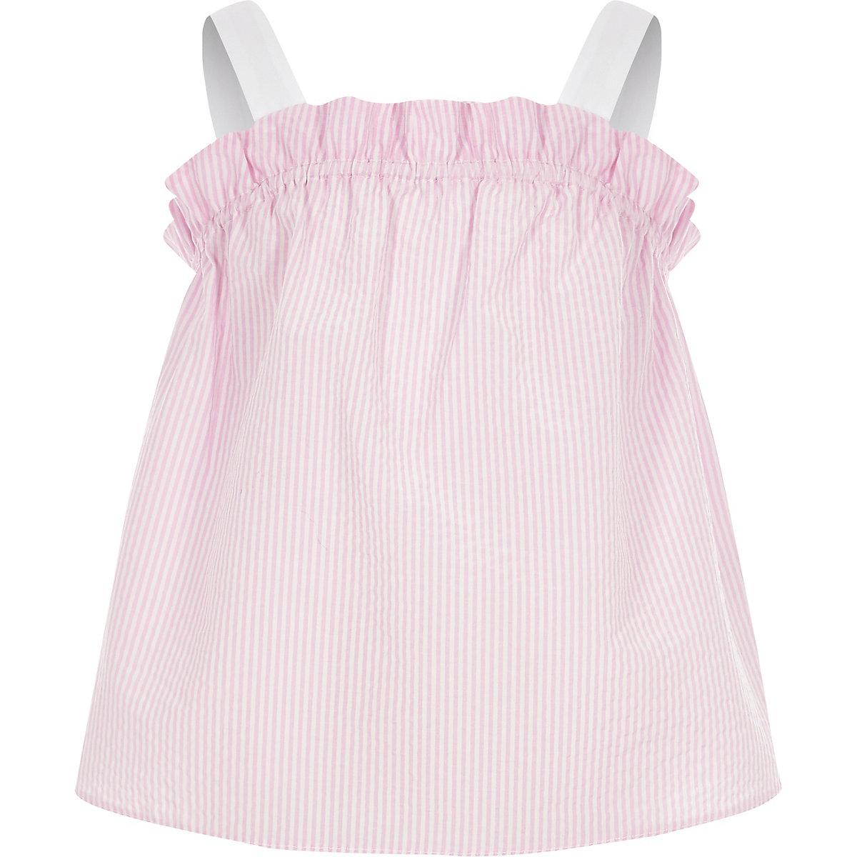 Girls pink stripe frill cami top
