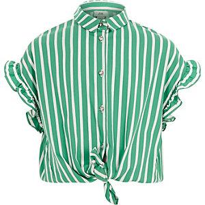 Girls green stripe frill sleeve shirt