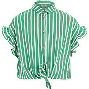 Girls green stripe frill sleeve shirt