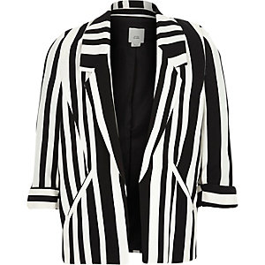 Girls black stripe print blazer