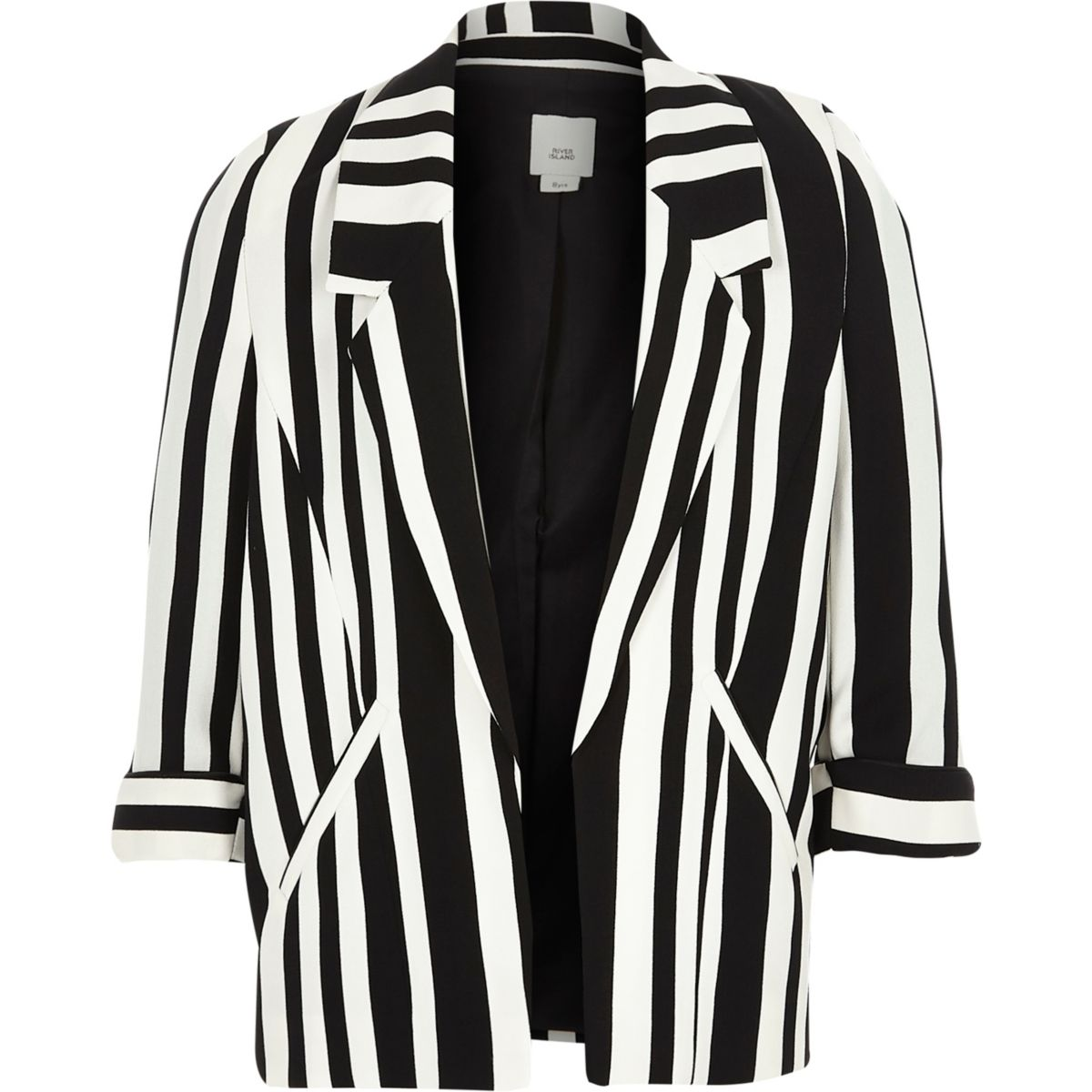 Girls black stripe print blazer