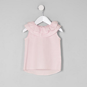 Mini girls pink stripe tiered collar top