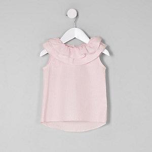 Top rayé rose avec col à volants mini fille