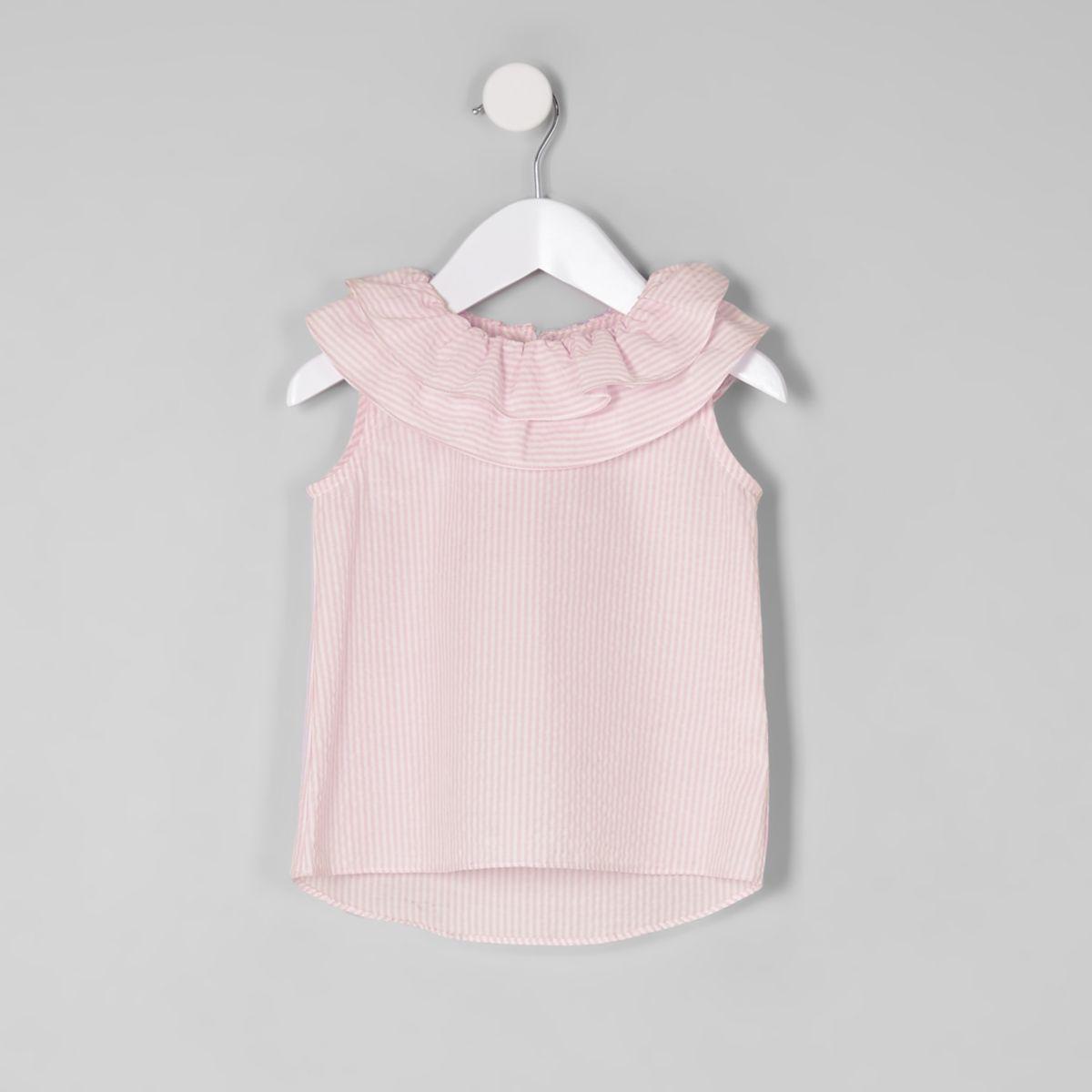 Mini girls pink stripe tiered collar