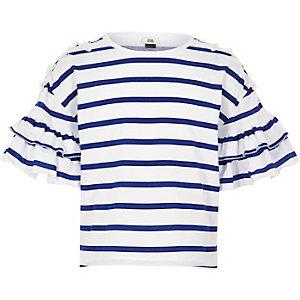 Blauw gestreept geborduurd T-shirt met bloemenprint voor meisjes