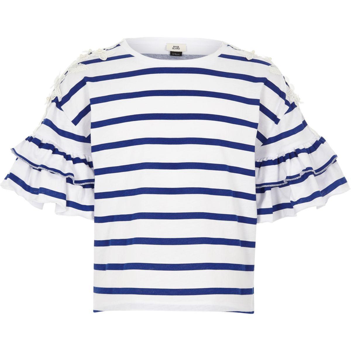 Girls blue stripe flower embroidered T-shirt