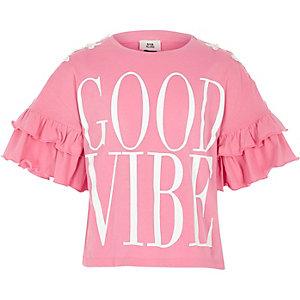 Girls pink 'good vibe' frill sleeve T-shirt