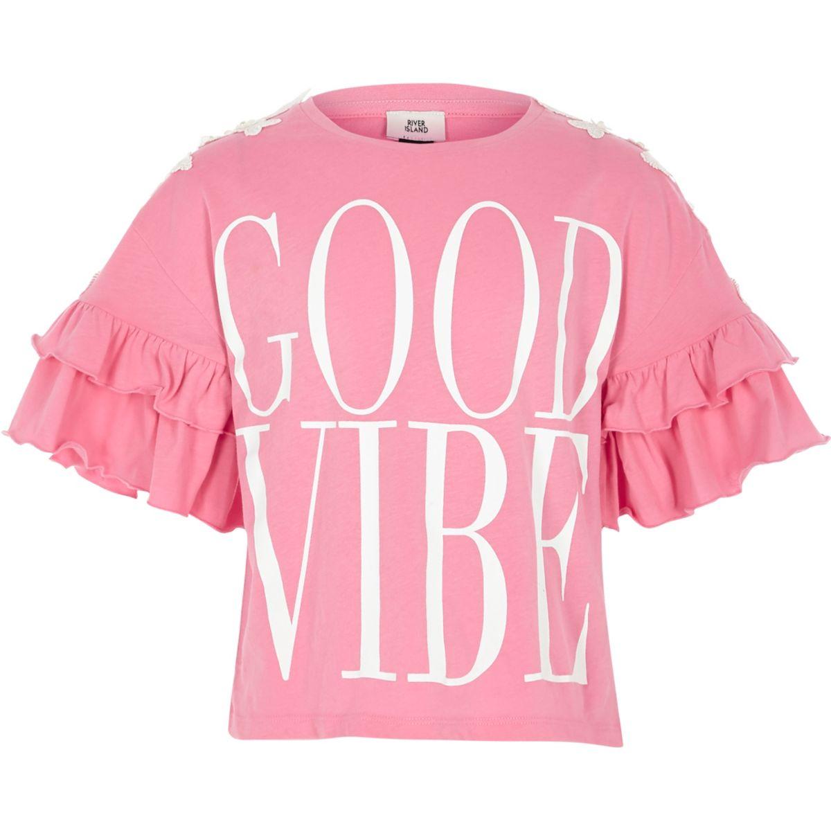 T-shirt « Good vibe » rose à volants pour fille