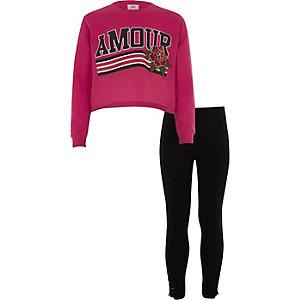 Outfit met roze cropped 'amour' sweatshirt voor meisjes