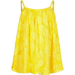 Girls pineapple print lace cami top