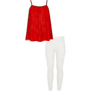 Girls red pineapple lace cami top outfit