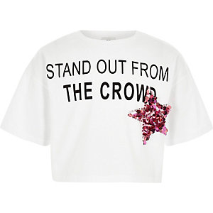 Wit cropped T-shirt met 'stand out'-print voor meisjes