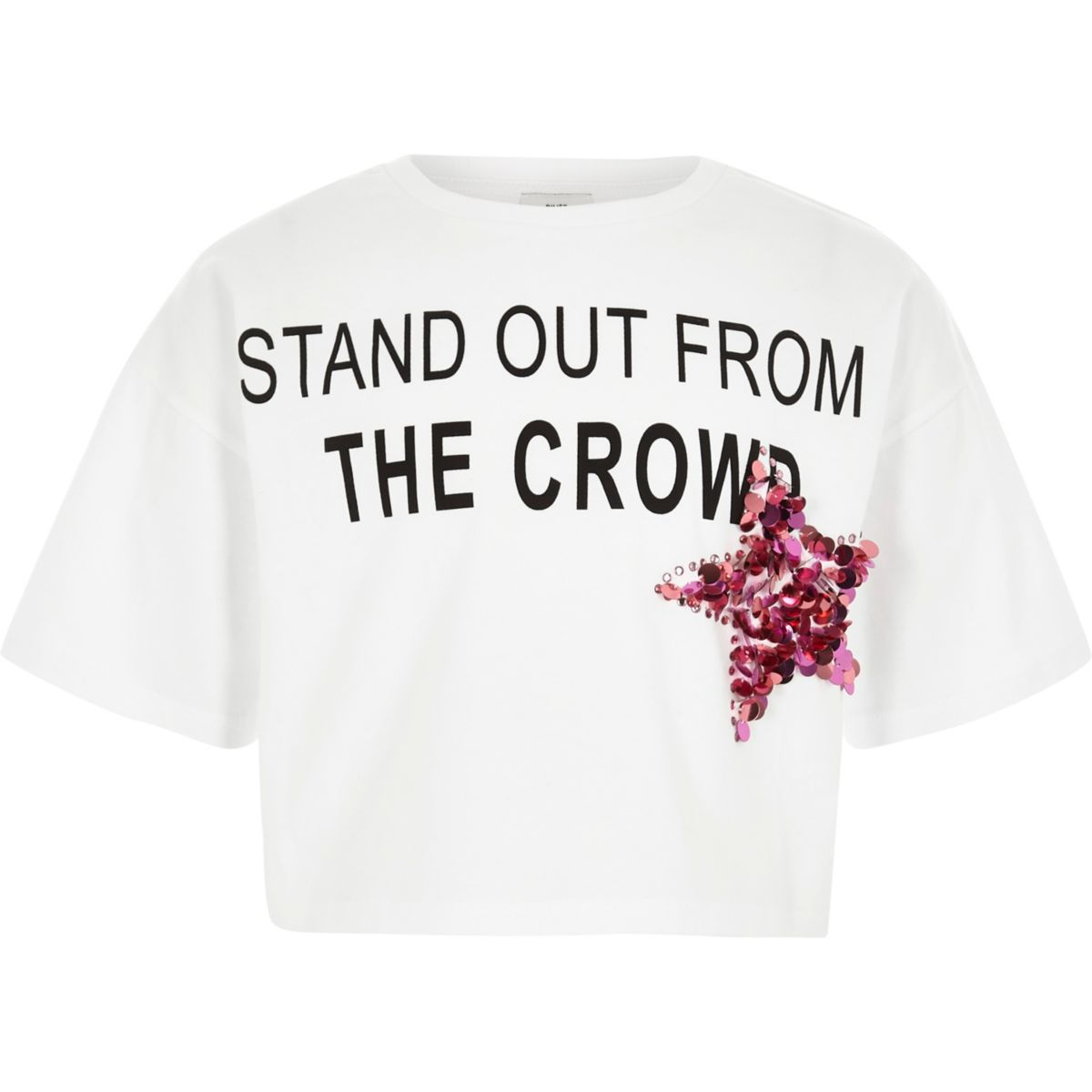 T-shirt court «stand out» blanc pour fille