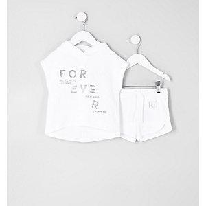 Mini - Outfit met witte poncho-hoodie voor meisjes
