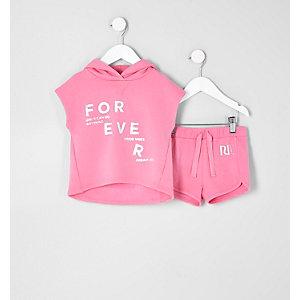 Mini - Outfit met roze poncho-hoodie voor meisjes