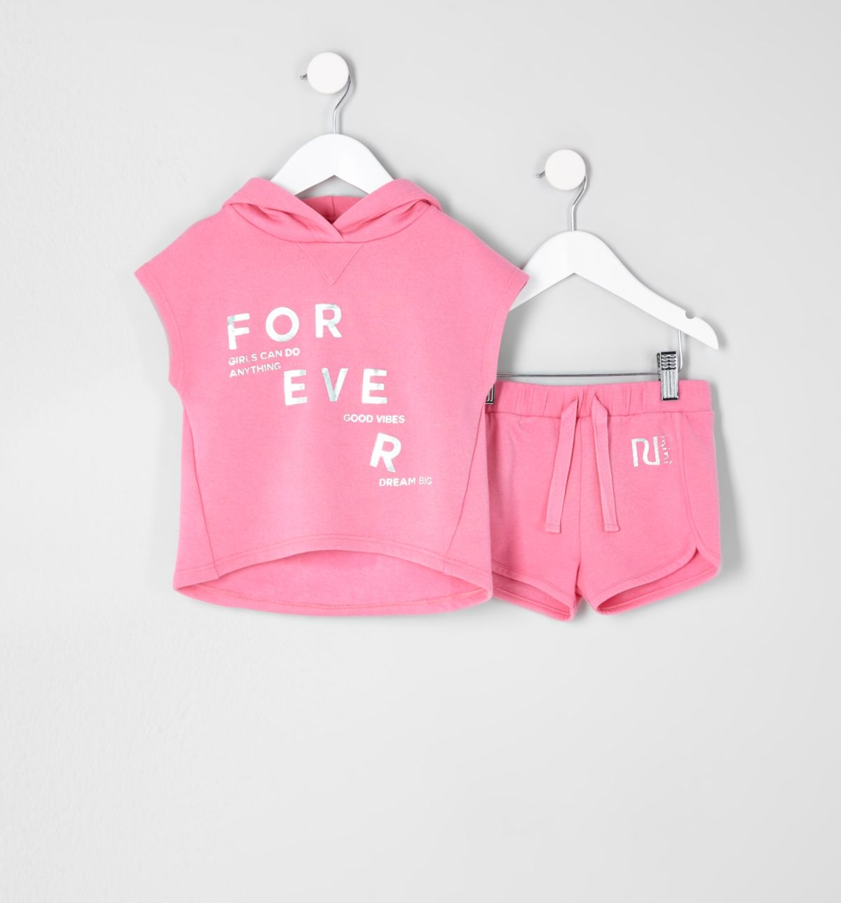 Mini girls pink poncho hoodie outfit
