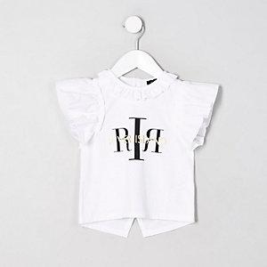 Mini - Witte top met 'RI'-print en split op de rug voor meisjes