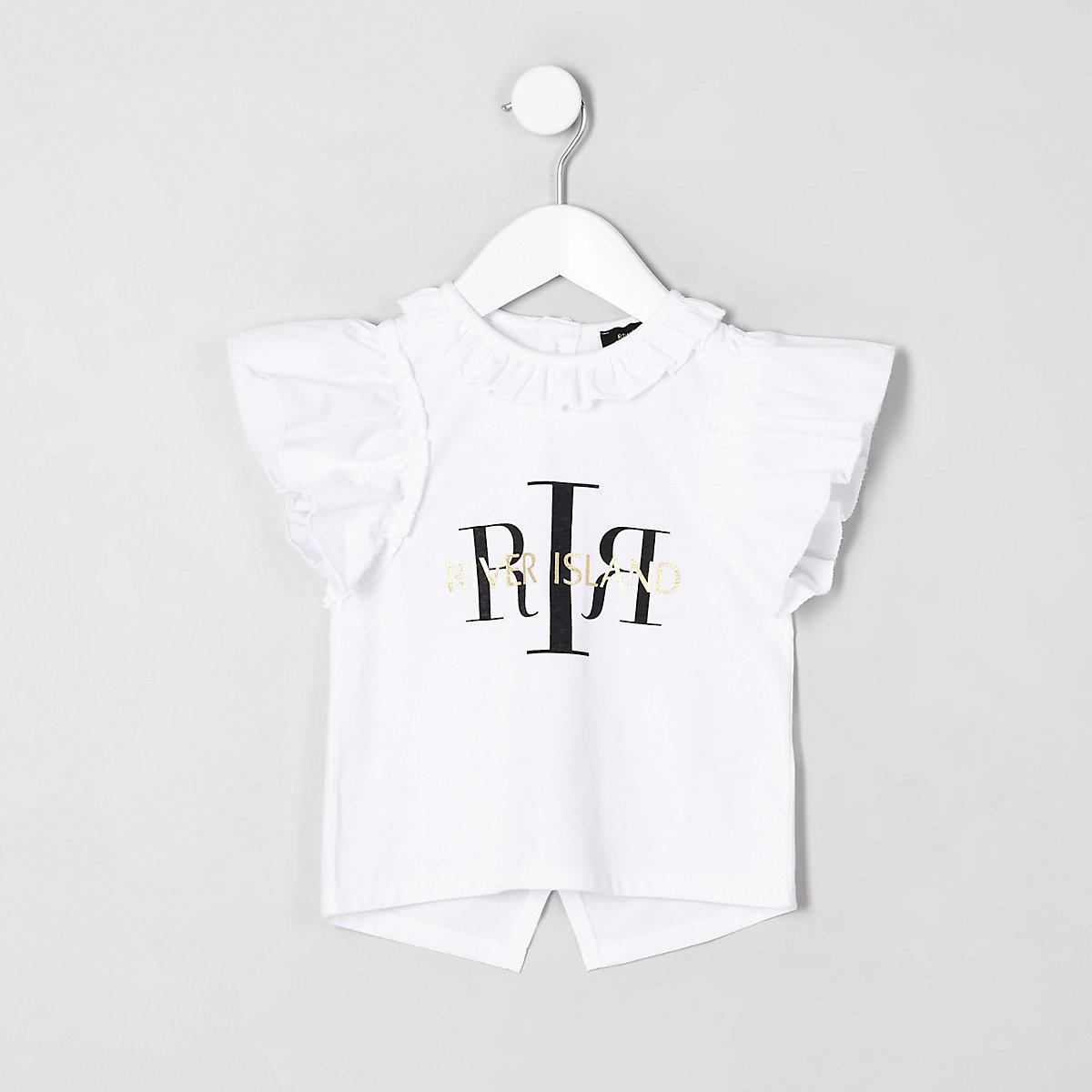 Mini girls white 'RI' split back top