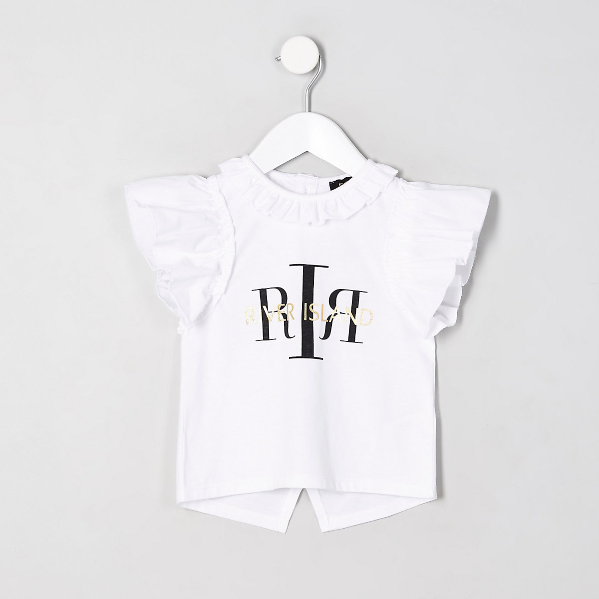 Mini girls white 'RI' split back top