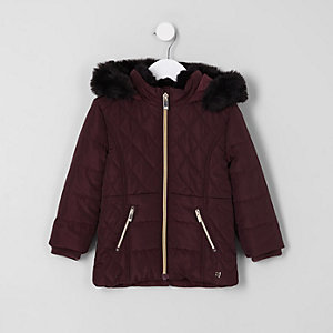 Mini girls purple faux fur padded coat
