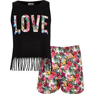 Outfit met zwart hemdje met 'love'-print en short voor meisjes