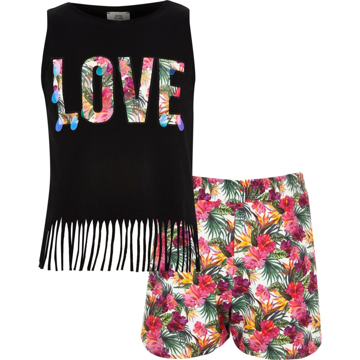 Girls black 'Love' vest and shorts outfit